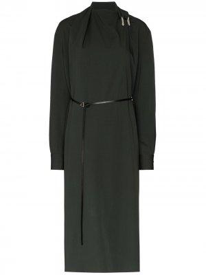 Платье-трапеция длины миди с поясом Bottega Veneta. Цвет: зеленый