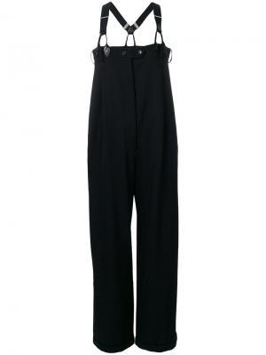Строгие брюки с завышенной талией и подтяжками Jean Paul Gaultier Vintage. Цвет: черный