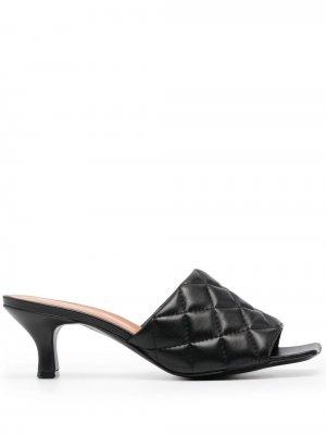 Стеганые мюли на низком каблуке Via Roma 15. Цвет: черный
