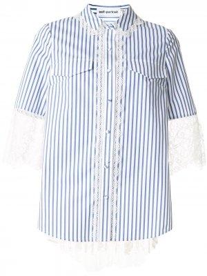 Полосатая рубашка с кружевной отделкой Self-Portrait. Цвет: синий