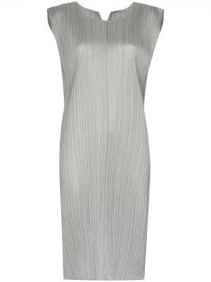 Плиссированное платье-трапеция Pleats Please Issey Miyake. Цвет: серый