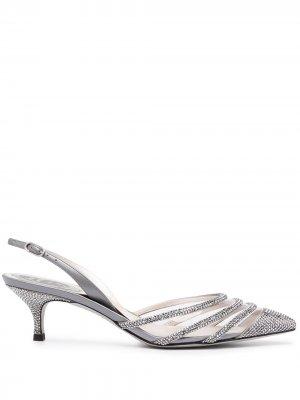 Туфли с заостренным носком и эффектом металлик René Caovilla. Цвет: серебристый