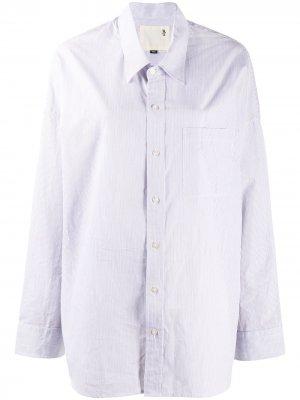 Рубашка оверсайз в тонкую полоску R13. Цвет: белый