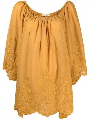 Блузка с драпировкой Mes Demoiselles. Цвет: желтый