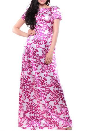 Платье MAURINI. Цвет: белый с фуксией