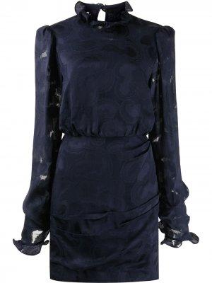 Жаккардовое платье Rina Saloni. Цвет: синий