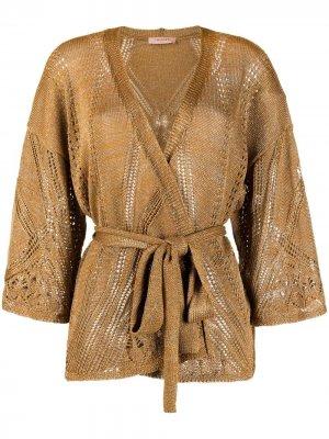 Кардиган-пальто с поясом TWINSET. Цвет: золотистый