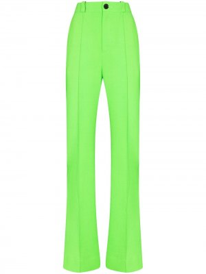 Прямые брюки с завышенной талией Kwaidan Editions. Цвет: зеленый