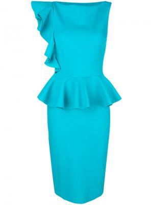 Приталенное платье с баской Dinara Chiara Boni La Petite Robe. Цвет: синий