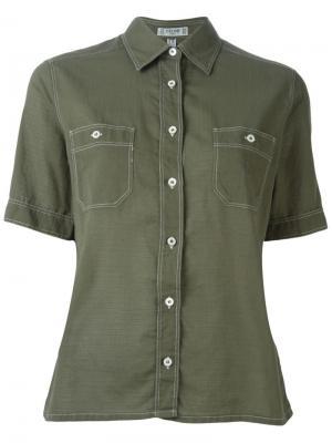 Рубашка с короткими рукавами Céline Vintage. Цвет: зеленый