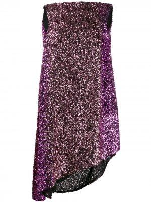 Коктейльное платье с воротником-хомут Halpern. Цвет: розовый