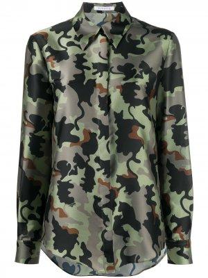Рубашка с длинными рукавами и камуфляжным принтом Vivetta. Цвет: зеленый