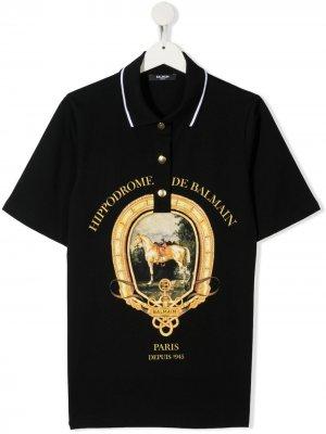 Рубашка поло с принтом Balmain Kids. Цвет: черный