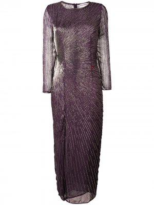 Bead embroidered slit front dress Giacobino. Цвет: фиолетовый
