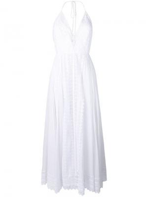 Платье макси с кружевным узором Charo Ruiz. Цвет: белый