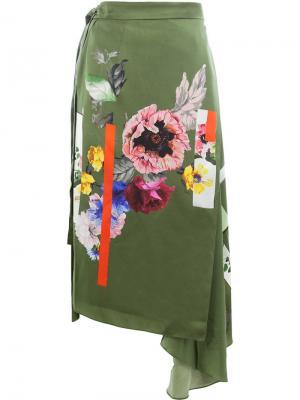Юбка Sketchbook с цветочным принтом Preen By Thornton Bregazzi. Цвет: зеленый