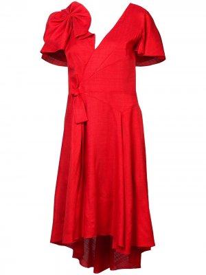 Платье с бантом Delpozo. Цвет: красный