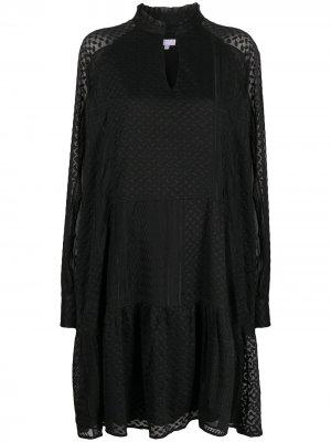 Платье Kufiya с длинными рукавами и вышивкой Lala Berlin. Цвет: черный