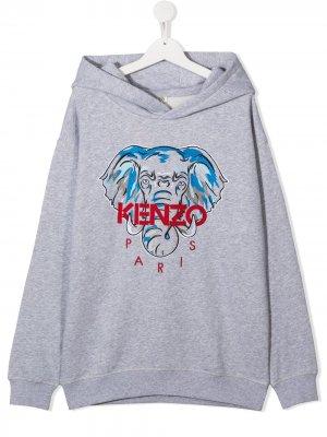 Худи с вышивкой Disco Jungle Kenzo Kids. Цвет: серый