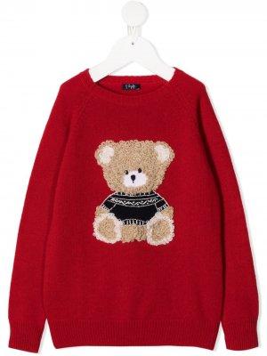 Джемпер Teddy Bear с круглым вырезом Il Gufo. Цвет: красный
