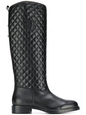Стеганые сапоги Trussardi Jeans. Цвет: черный