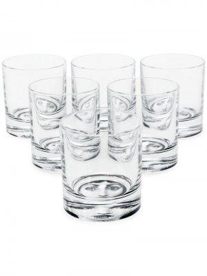 Набор из шести стеклянных бокалов с принтом Fornasetti. Цвет: черный