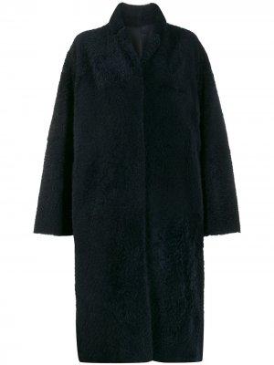 Фактурное пальто длины миди Liska. Цвет: синий