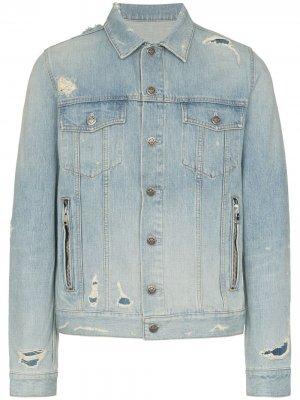 Джинсовая куртка с тисненым логотипом Balmain. Цвет: синий