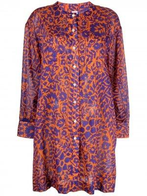 Рубашка с цветочным принтом Eres. Цвет: оранжевый