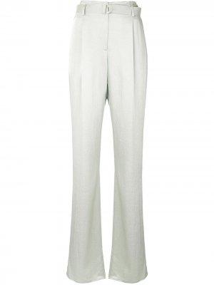 Атласные брюки широкого кроя LAPOINTE. Цвет: зеленый