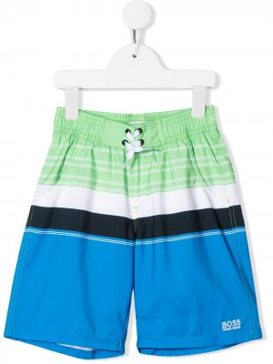 Плавки-шорты в стиле колор-блок BOSS Kidswear. Цвет: синий