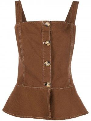 LAutre Chose блузка с баской L'Autre. Цвет: коричневый