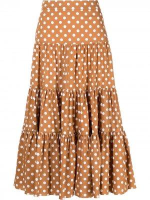 Ярусная юбка Peasant в горох Caroline Constas. Цвет: коричневый