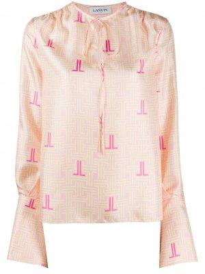 Блузка JL с принтом LANVIN. Цвет: розовый