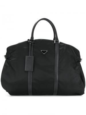 Спортивная сумка с логотипом Prada. Цвет: чёрный
