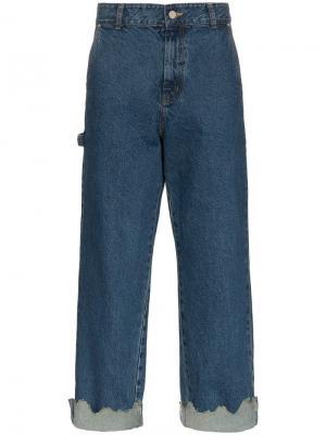 Широкие джинсы с подворотами Ader Error. Цвет: синий
