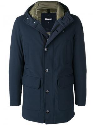 Пальто на молнии с капюшоном Blauer. Цвет: синий