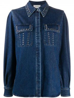 Рубашка с карманами и заклепками Alberta Ferretti. Цвет: синий