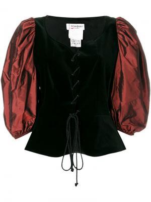 Топ-корсет со шнуровкой и пышными рукавами Yves Saint Laurent Vintage. Цвет: черный