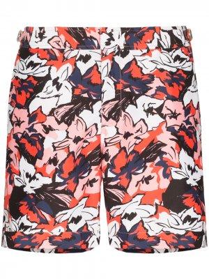 Плавки-шорты Bulldog South Beach с цветочным принтом Orlebar Brown. Цвет: красный