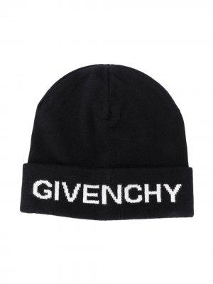Шапка бини с логотипом Givenchy Kids. Цвет: черный