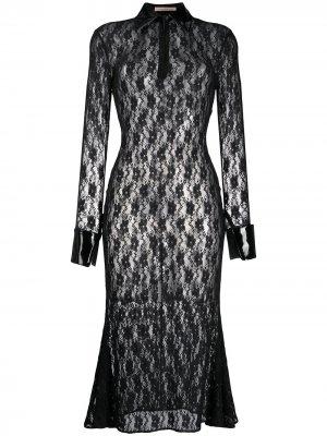 Платье миди из цветочного кружева Christopher Kane. Цвет: черный