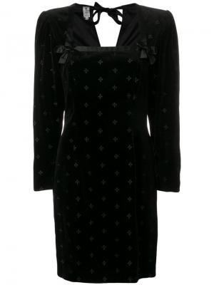 Структурное платье с длинными рукавами Emanuel Ungaro Pre-Owned. Цвет: черный