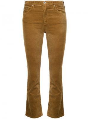 Укороченные расклешенные джинсы Jodi Ag Jeans. Цвет: коричневый