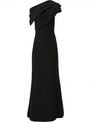 Платье макси асимметричного кроя Badgley Mischka. Цвет: черный