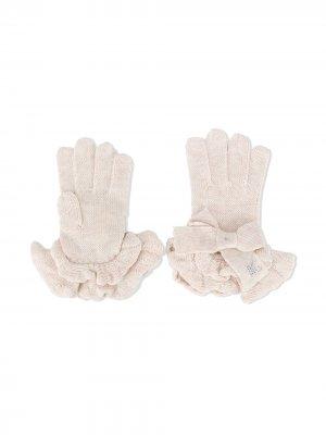 Перчатки с оборками Monnalisa. Цвет: нейтральные цвета