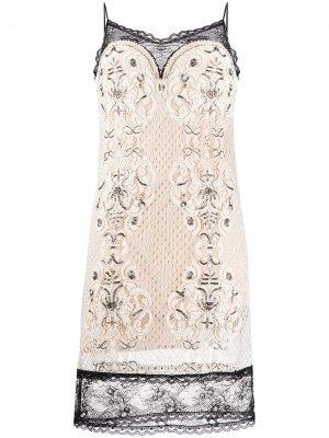 Кружевное платье-комбинация Twin-Set. Цвет: нейтральные цвета