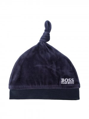 Шапка бини с вышитым логотипом BOSS Kidswear. Цвет: синий
