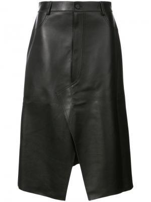 Кожаная юбка с декоративной строчкой в тон Dion Lee. Цвет: черный