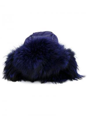 Дутая шапка-ушанка с меховой отделкой Liska. Цвет: синий